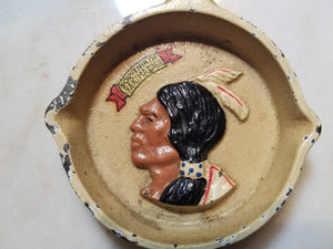 Cast Iron Skillet Ashtray with Native American Indian Man, A Souvenir of Yakima, Washington