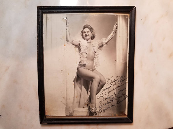 Framed Autographed Photograph of Burlesque Dancer Arabella André, La Parisian Bombshell