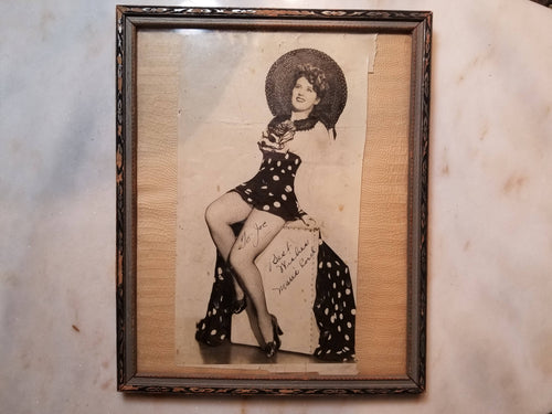 Framed Autographed Photograph of Burlesque Dancer Marie Cord, Given to
