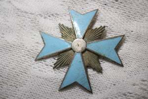 Turquoise Enamel and Metal Cross Brooch
