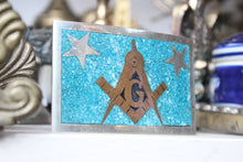 Load image into Gallery viewer, Sterling Silver Free Masons Belt Buckle with Turquoise, Brass, and Enamel Inlay by Taxco, Mexico