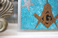 Sterling Silver Free Masons Belt Buckle with Turquoise, Brass, and Enamel Inlay by Taxco, Mexico