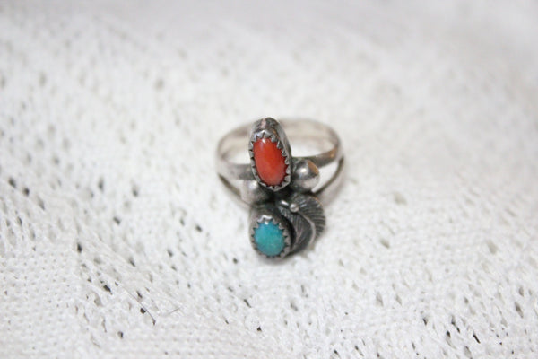 Southwest Sterling Silver Ring with Turquoise and Coral Stones and Feather, Size 6