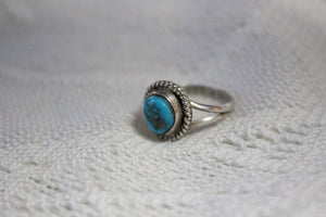 Navajo Sterling Silver Ring with Beautiful Turquoise Stone, by Angela Lee, Size 5