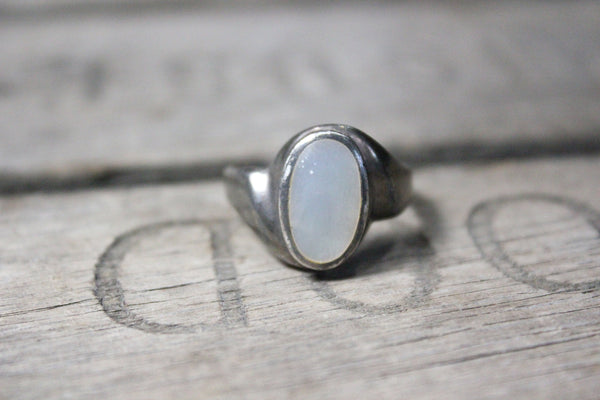 Sterling Silver Ring with Large Opal Stone, Size 9.5