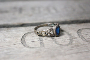 Sterling Silver Ring with Deep Blue Sapphire, Size 7
