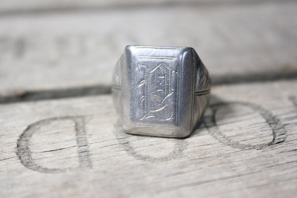 Heavy Sterling Silver P Monogram Ring, Size 11