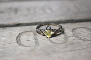 Sterling Silver Claddagh Ring with Gemstones, Size 8
