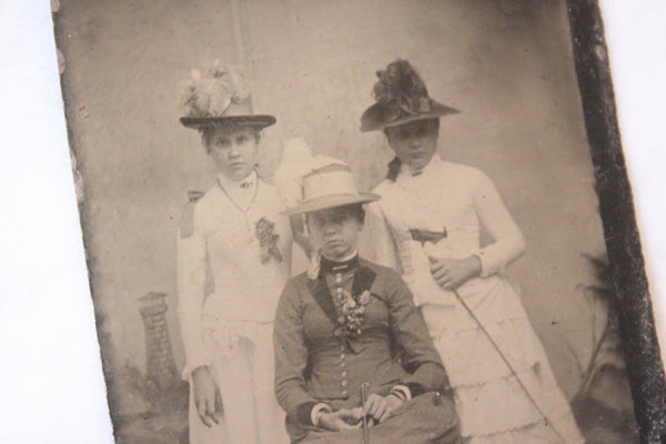 Tintype Photograph of Three Well Dressed Women