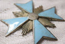 Load image into Gallery viewer, Turquoise Enamel and Metal Cross Brooch