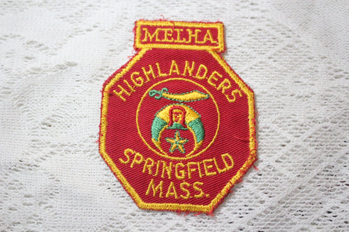 Melha Highlanders Shriners Embroidered Patch, Springfield, Massachusetts