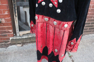 Antique Odd Fellows IOOF Tunic with Red and Black Velvet, Red Star, and Metal Embellishments