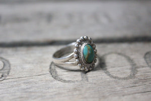 Southwest Native American Sterling Silver Ring with Turqouise Stone, Size 6