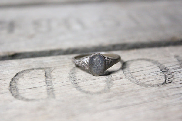 Sterling Silver J Monogram Ring, Size 6