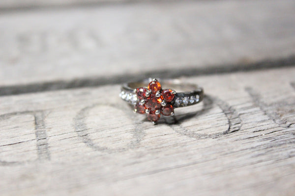 Sterling Silver Ring with Red and White Gemstones, Size 6.5