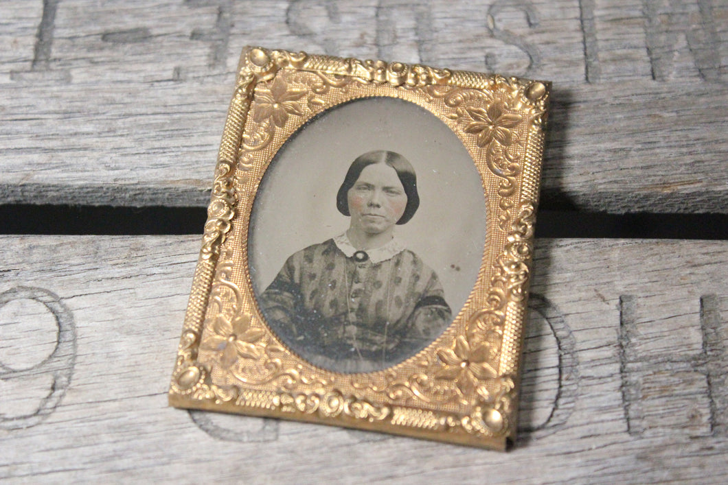 Ambrotype Photograph of a Woman with Colored Pink Cheeks