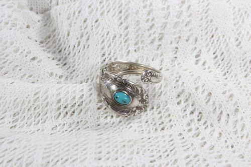 Sterling Silver Towle Silverware Ring with Turqoise Stone, Size 7.75