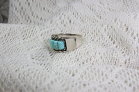 Sterling Silver Bohemian Southwest Ring with Quadruple Turqoise Stones, Size 9.5