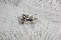 Sterling Silver Mexican Ring with Ocean Wave Design, Size 10