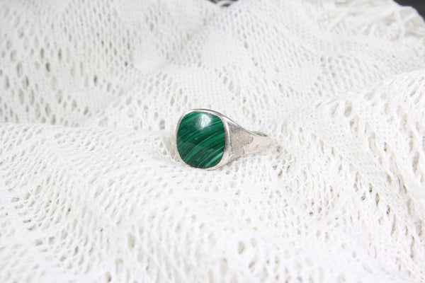 Sterling Silver Ring with Large Malachite Stone, Size 12