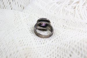 Sterling Silver Ring with Translucent Purple Stone, Size 5.5