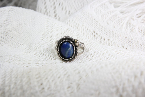 Sterling Silver Ring with Lapis Lazuli, Size 7.5