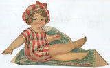 "Die Cut Antique Valentine Greeting Card with Posable Paper Doll Swimmer - 8.5"" x 5"""