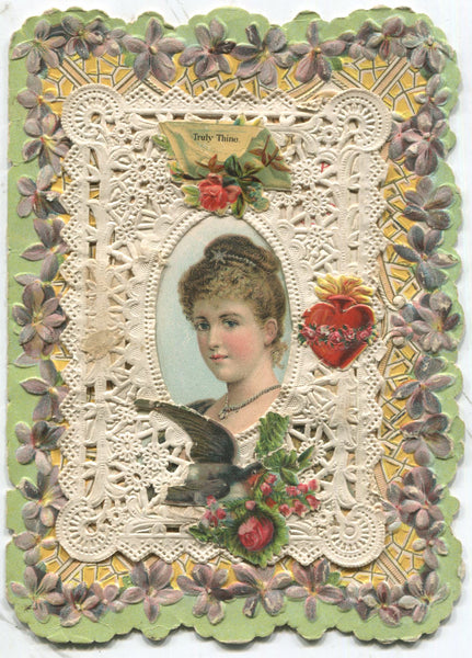 "Paper Doily Antique Valentine Greeting Card - ""Truly Thine"" - 4.5"" x 6"""