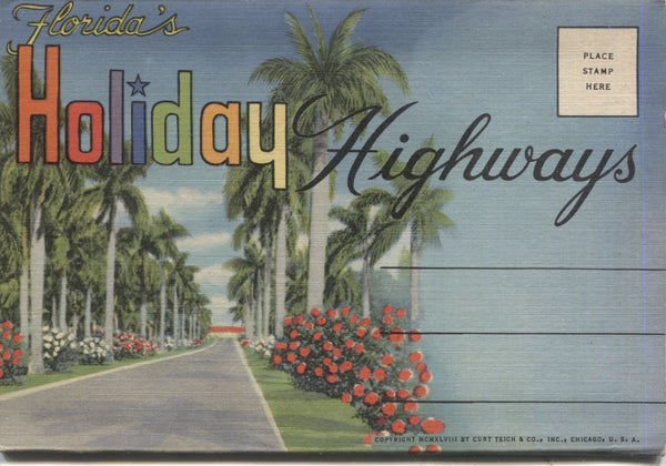 Florida's Holiday Highways Vintage Souvenir Postcard Folder