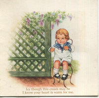 "Cut Out Antique Valentine Greeting Card - ""I Know Your Heart is Warm For Me"" - 3.5"" x 3.5"""