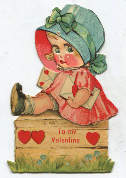 "Posable Paper Doll Die Cut Antique Valentine Greeting Card, Dated 1928 - 2.25"" x 3.5"""