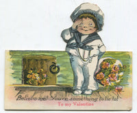 "Cut Out Antique Valentine Greeting Card - ""You're something to tie to!"" - 4.5"" x 4"""