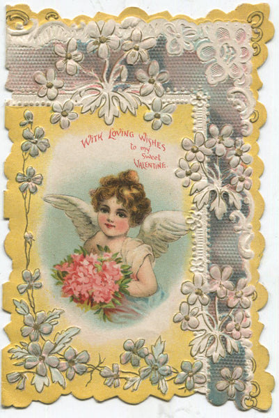 "Antique Valentine Greeting Card - ""With Loving Wishes to My Sweet Valentine"" - 3.75"" x 5.75"""