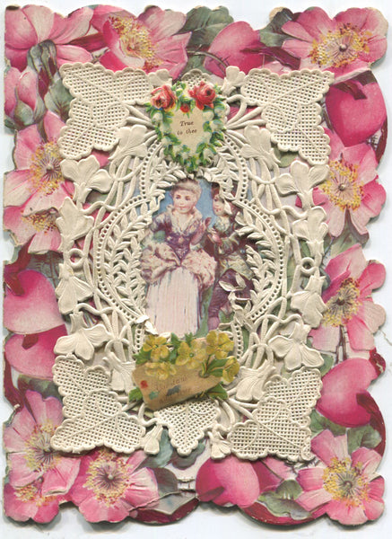 "Paper Doily Antique Valentine Greeting Card, Dated 1905 - ""True to Thee"" - 4.75"" x 6"""