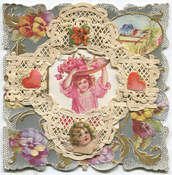"Paper Doily Antique Valentine Greeting Card, Dated 1907 - ""All I Wish"" - 5.5"" x 5.5"""