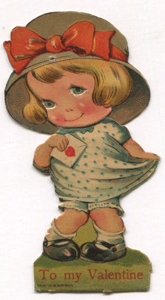 "Die Cut Posable Antique Valentine Greeting Card, Made in Germany - 2"" x 3.75"""
