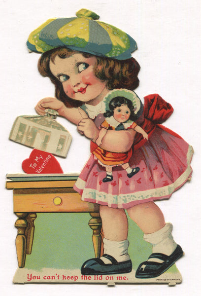 "Die Cut Antique Valentine Greeting Card - ""You Can't Keep a Lid on Me"" - 3.5"" x 6"""