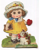"Die Cut Pop Out Posable Antique Valentine Greeting Card, Made in Germany - 5.5"" x 7"""