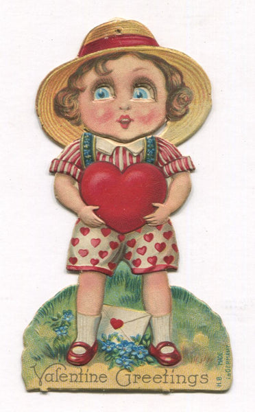 "Die Cut Posable Antique Valentine Greeting Card, Made in Germany - 2"" x 4"""