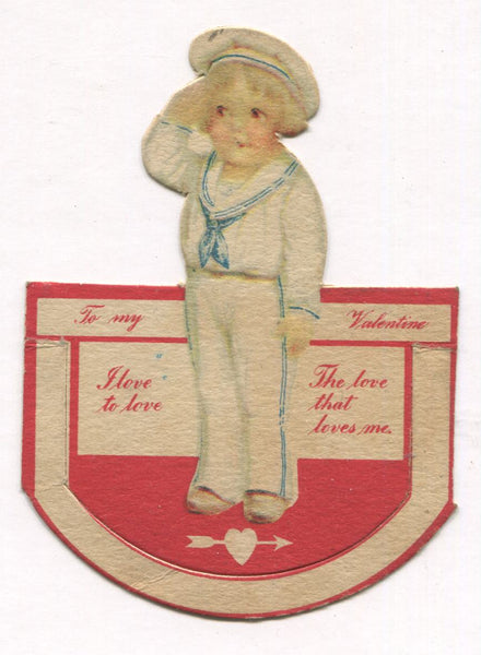 "Die Cut Antique Valentine Greeting Card - ""I Love to Love the Love That Loves Me"" - 2.5"" x 3.5"""