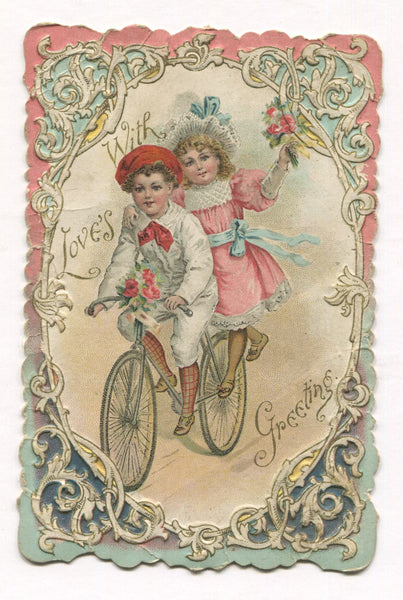 "Antique Valentine Greeting Card with Bicycle Riders - ""Forget Me Not"" - 3.5"" x 5.5"""