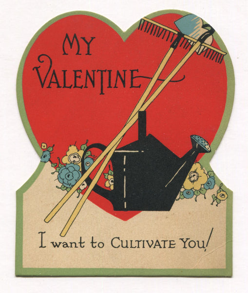 "Die Cut Antique Valentine Greeting Card, Dated 1928 - ""I Want to Cultivate You"" - 4"" x 5"""