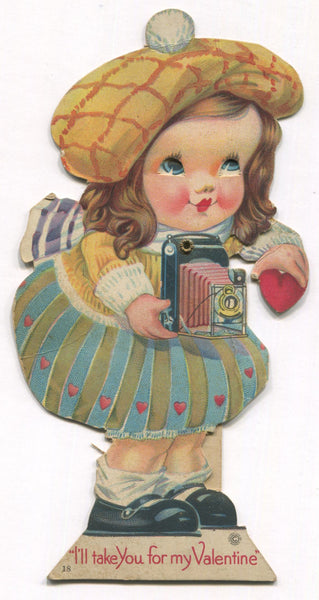 "Die Cut Posable Antique Valentine Greeting Card - ""I'll Take You For My Valentine"" - 3.5"" x 7"""