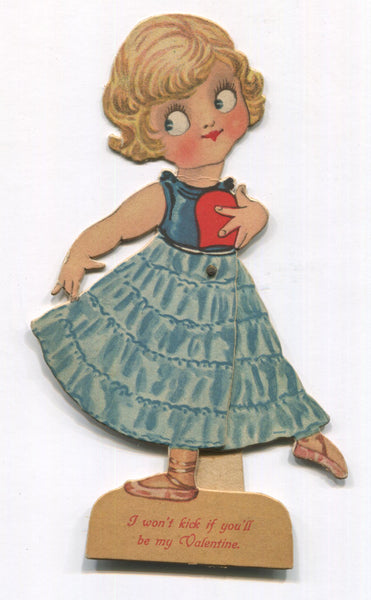 "Die Cut Posable Antique Valentine Greeting Card Dancer - ""I Won't Kick"" - 4 x 7"""