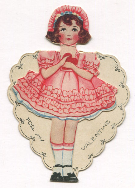 "Die Cut Fold Up Antique Valentine Greeting Card, Dated 1924 - ""It's a Secret"" - 2.75 x 4"""