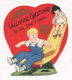 "Die Cut Antique Valentine Greeting Card - ""Forget-Me-Nots Are Blue, True Blue"" - 3"" x 3"""