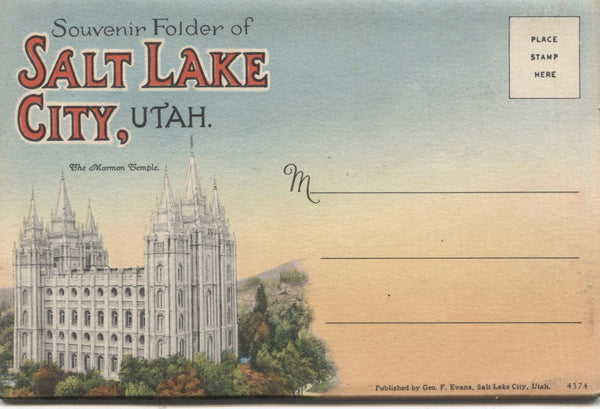 Salt Lake City, Utah Vintage Souvenir Postcard Folder