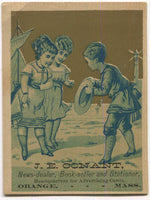 "J.E. Conant NewsDealer & BookSeller, Orange, MA, Antique Trade Card - 3"" x 3.75"""