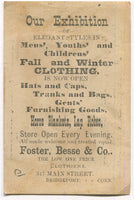 "Foster, Besse, & Co. Clothiers, Bridgeport, CT Antique Trade Card - 4.5"" x 3"""