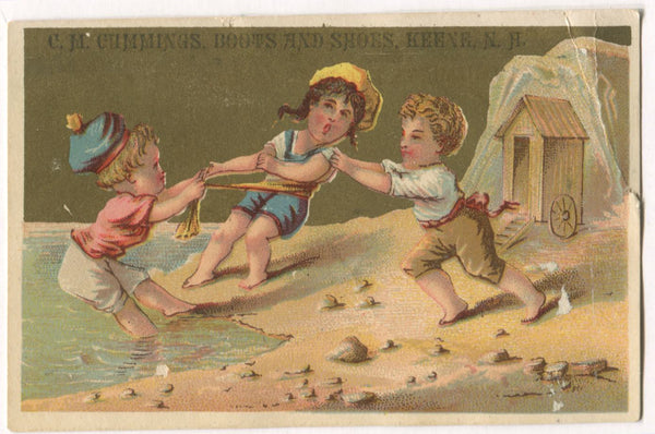 "C.M. Cummings Boots & Shoes, Kenne, NH Antique Trade Card - 4.5"" x 3"""